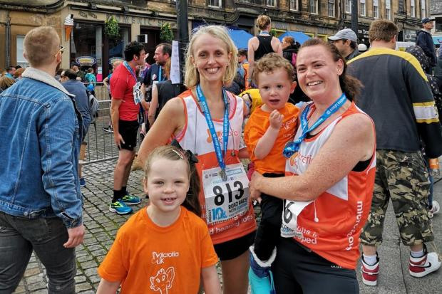 Claire Williamson (right) at the 10K finish line with son Lewis, daughter Aimee and friend Jennifer Harvey