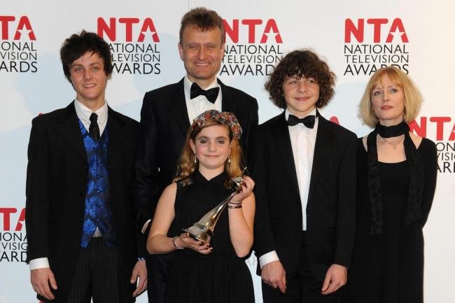 The cast of Outnumbered Tyger Drew-Honey, Hugh Dennis, Ramona Marquez, Daniel Roche and Claire Skinner in 2012