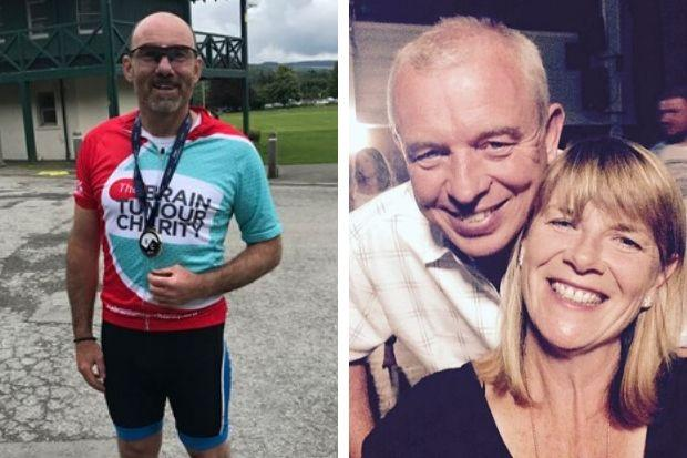 Graham Waddell (left) completed a challenging 120-mile cycle in memory of friend John (right).