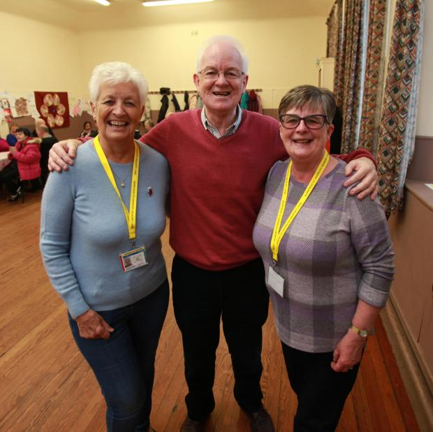 Barrhead News: Memory Lane chairman Ronnie Whitelaw with Morag Inglis and Marion Stewart