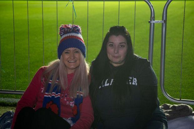 Andree Young (left) and Caroleann Dickov took part in the Ibrox Sleepout