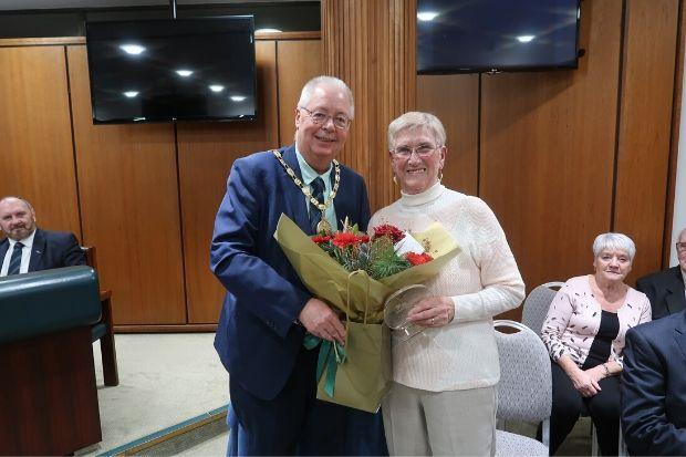 Evelyn Baxter is congratulated by East Renfrewshire Provost Jim Fletcher