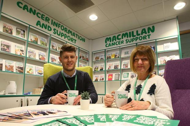 Macmillan duo Connor O'Boyle and Joanne Martin offer a friendly welcome at the drop-in sessions held at The Foundry.