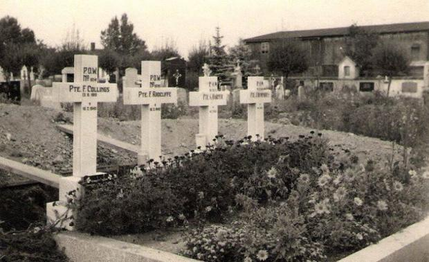 Barrhead News: Pte Racliffe's grave (second left) with the three other POWs he was shot along side.
