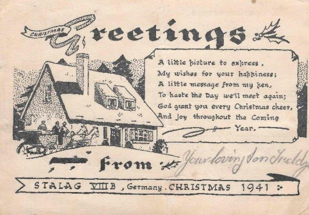 Barrhead News: A Christmas card from Fred to his family from the Stalag VIII B camp.