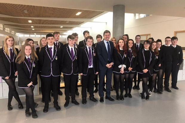Ken Macintosh with pupils at Barrhead High