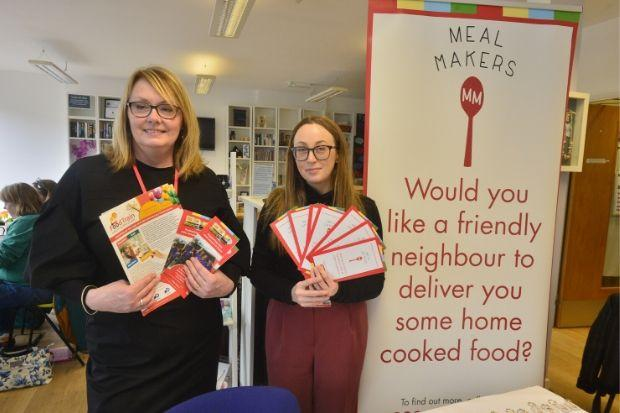 Getting the message across at The Market Place are Fiona Hamilton, of Food Train, (left) and Lisa Anderson, of Meal Makers