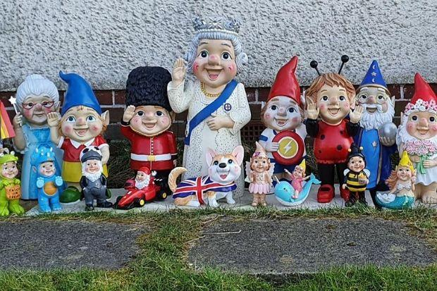 This diverse collection of gnomes has been cheering up local people