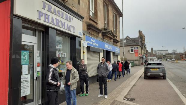 Barrhead News: People try to stay apart at Frasers'