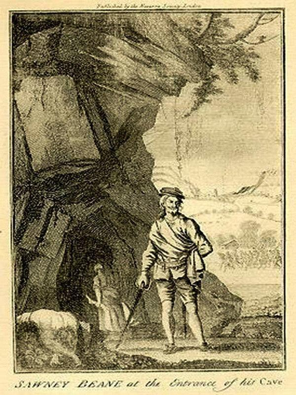 Barrhead News: An illustration of Sawney Bean outside his cave