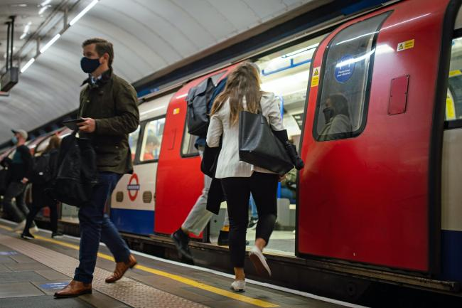 Tube passengers wearing face coverings