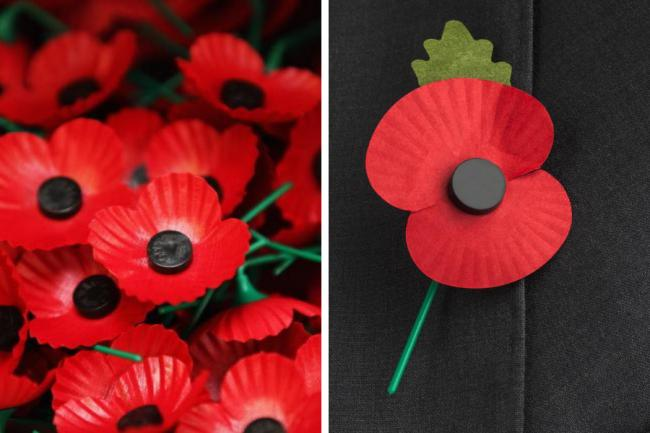 The Scottish Poppy on the left, and the poppy used in the rest of the UK.