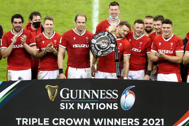 Wales celebrate winning the Triple Crown