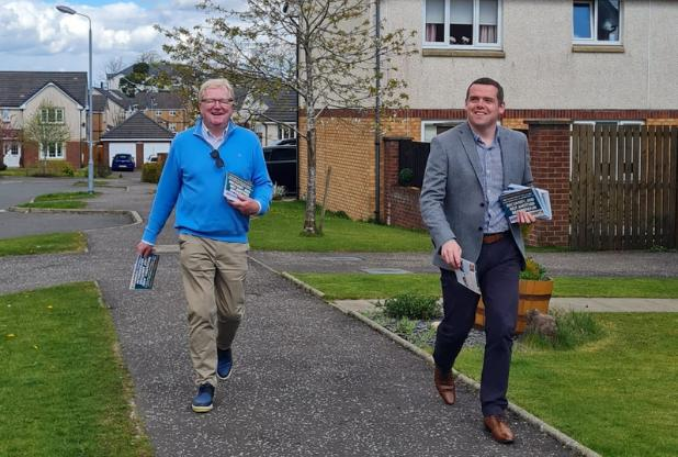 Douglas Ross joined Eastwood candidate Jackson Carlaw on the campaign trail
