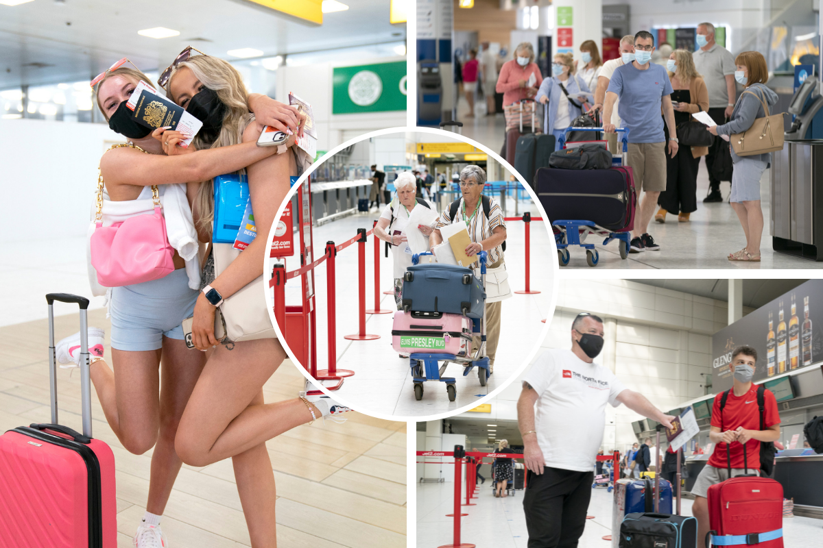 Sun-seekers head to Glasgow Airport as new rules for travellers come into force