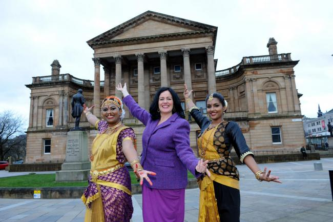 Paisley 2021 bid director Jean Cameron with Lawanya Ramajeyam and Dagshagini Taylor, dancers in Abhinaya Dance Academy Glasgow