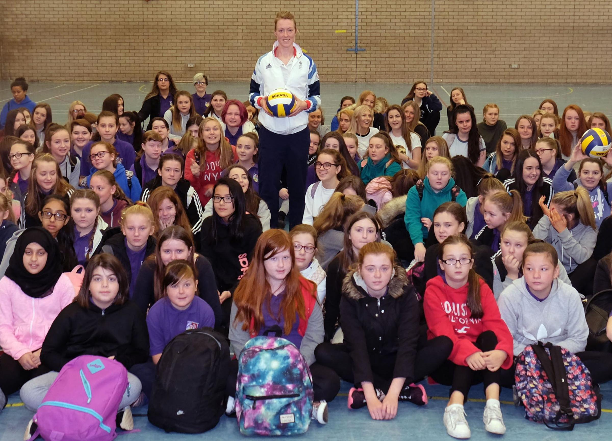 Team GB volleyball captain Lynne Beattie dropped into Barrhead High