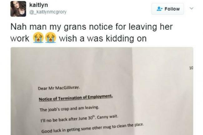 'The joab's c**p and am leaving': Gran's 'resignation letter' is a Twitter hit