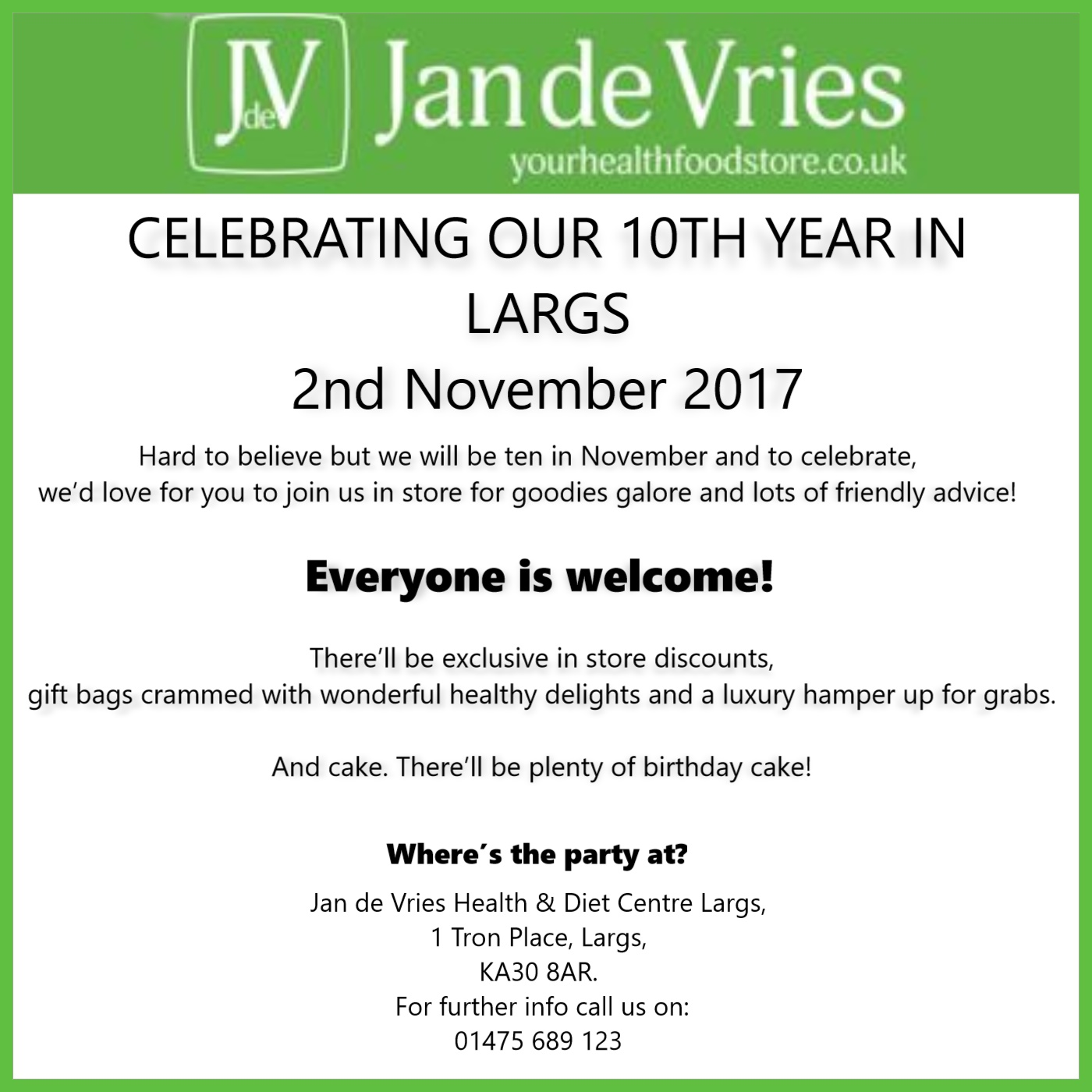 JAN DE VRIES - CELEBRATING OUR 10TH YEAR IN LARGS