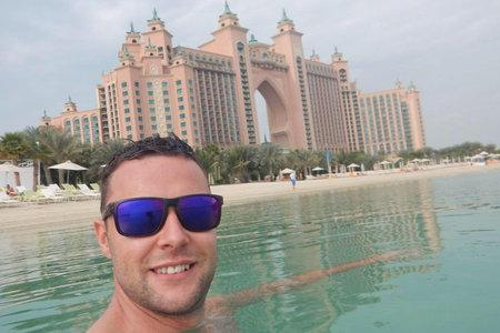 Barrhead News: Jamie Harron in front of Atlantis The Palm Hotel, Dubai.