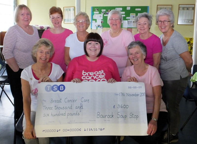 Soup Stop members, including Linda Dye (front right) and Maureen McBeth (front left), present the cheque to Breast Cancer Care community fundraiser Shona Ferguson