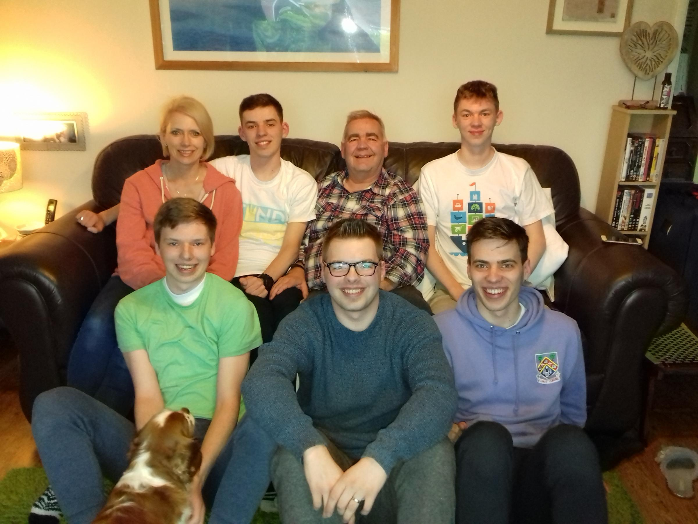 Cameron Keir (front left) with parents Michelle and Andrew and his four brothers