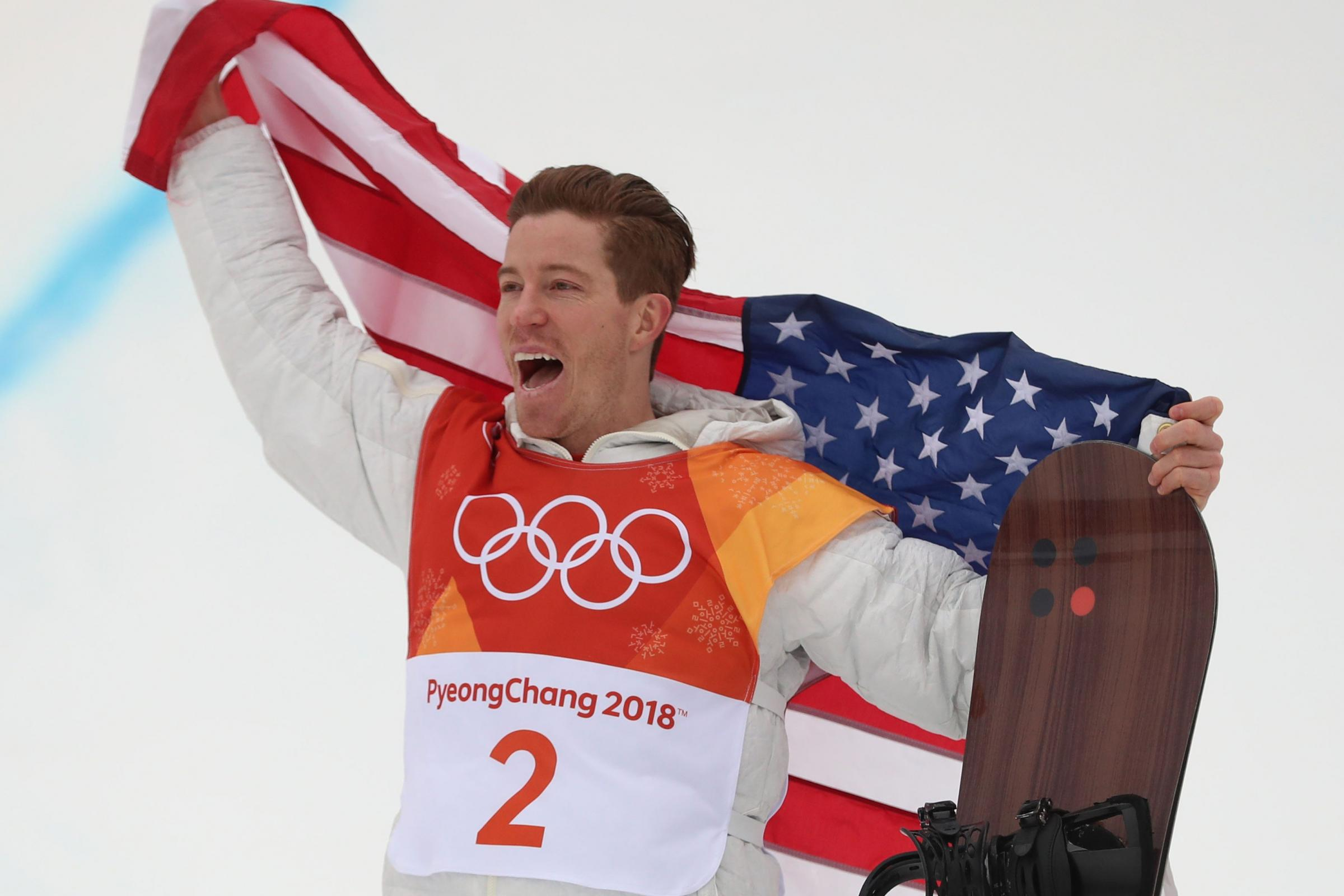 USA's Shaun White celebrates winning gold in the men's snowboard halfpipe at the Pyeongchang Winter Olympics (Mike Egerton/PA Images)