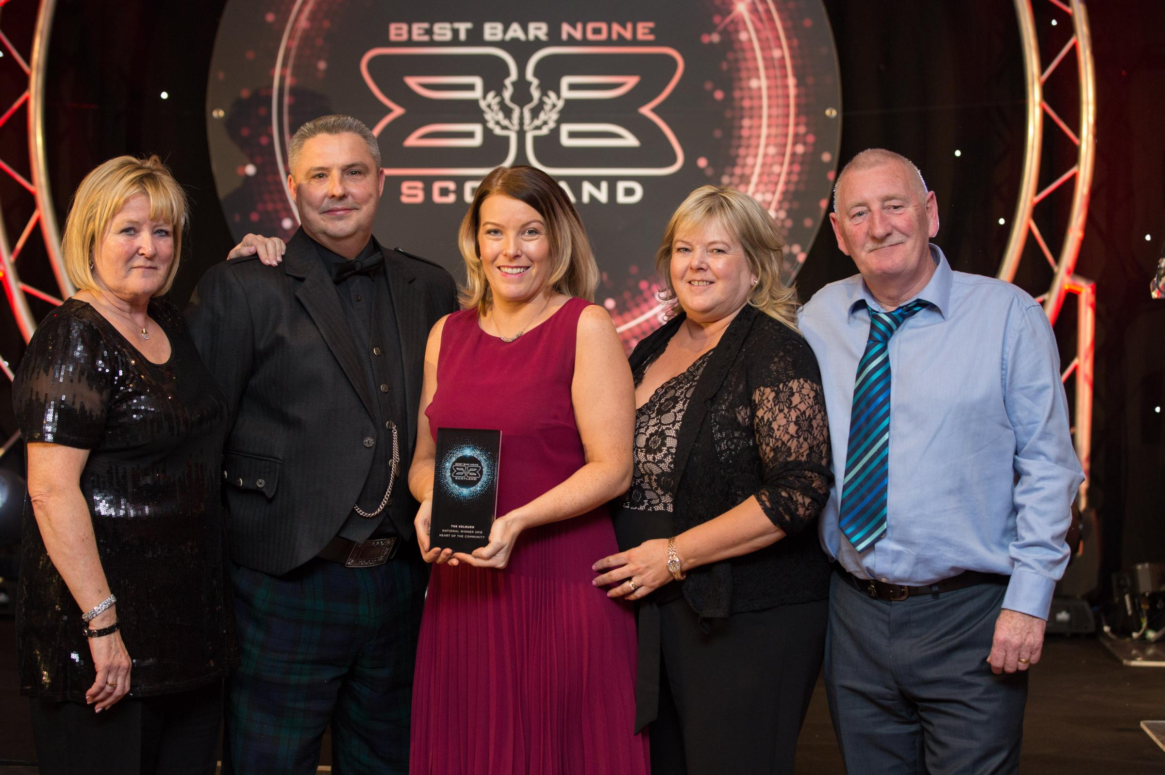 The Kelburn Bar is presented with the Heart of the Community award at Best Bar None