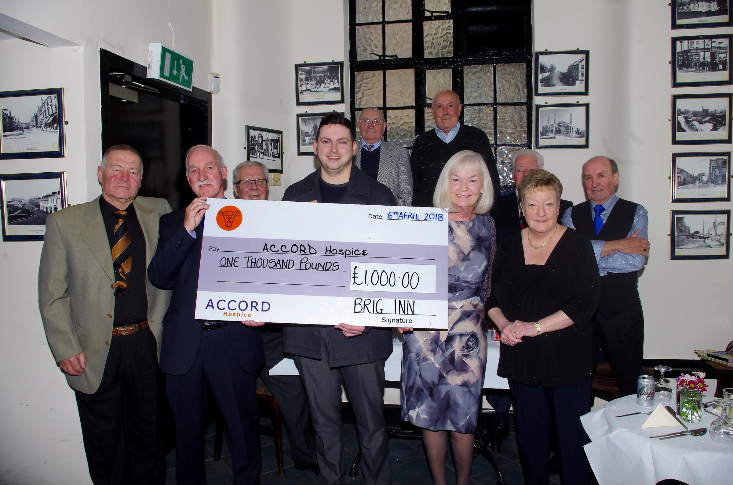 The Brig Inn handed over the cheque to the Accord Hospice on Friday