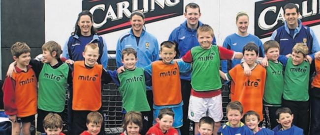 Kids and SFA coaches at Pro-Soccer, Giffnock.