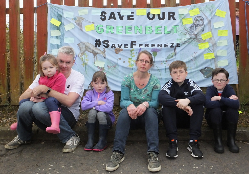 Tom Lagan, his daughters Anna and Eva, Kirsty Menzies and youngsters Greg Murray and Harris Lester protested against the plans
