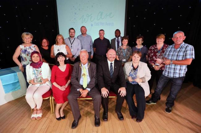 Provost Jim Fletcher and winners at the council's staff awards