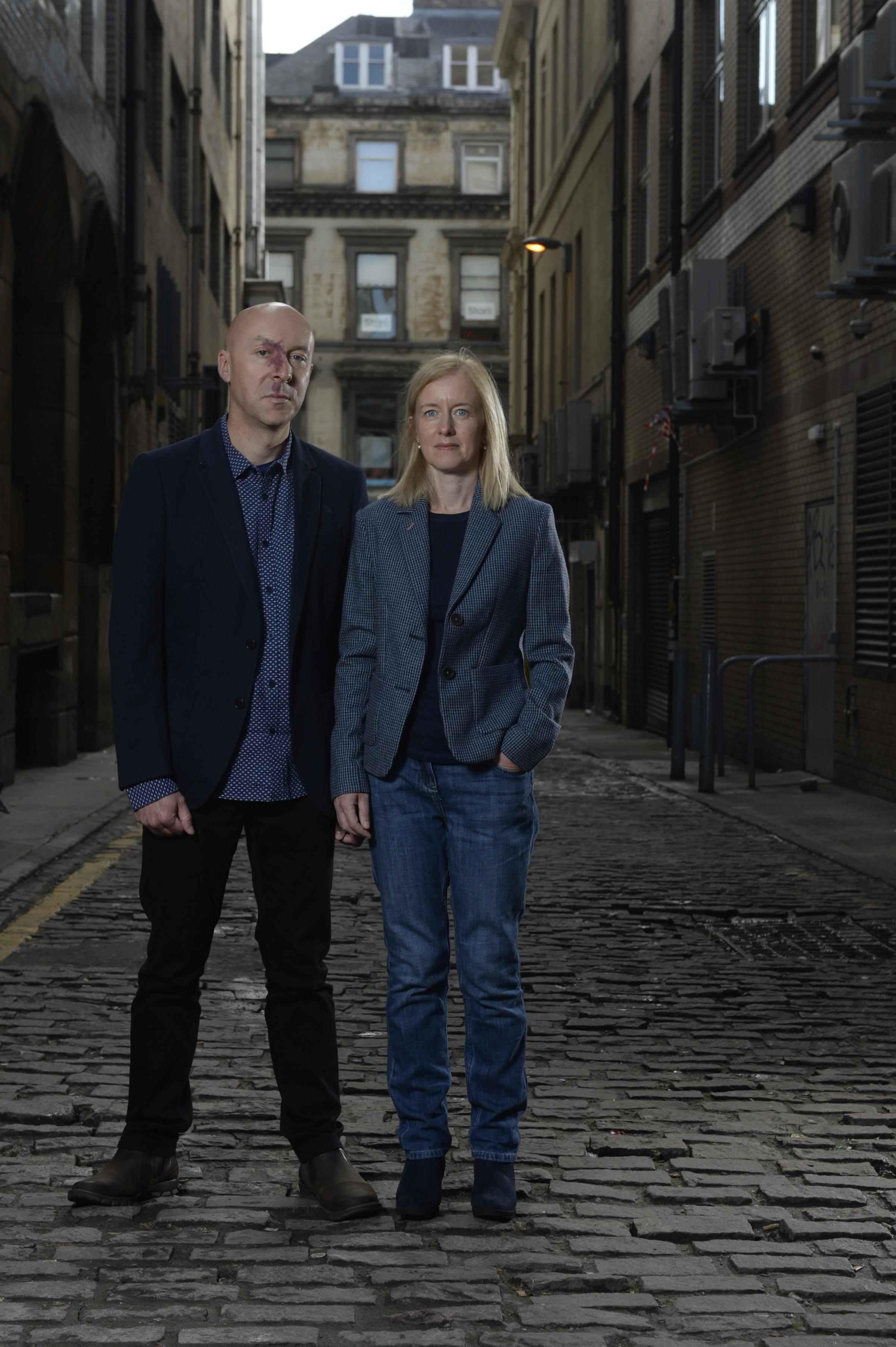Scottish Life magazine photoshoot with crime writers Lin Anderson, Liam McIlvanney, Chris Brookmyre and Dr Marisa Haetzman...The feature is about what the authors have learned from their profession about how to commit the perfect crime. ..Picture shows Sc