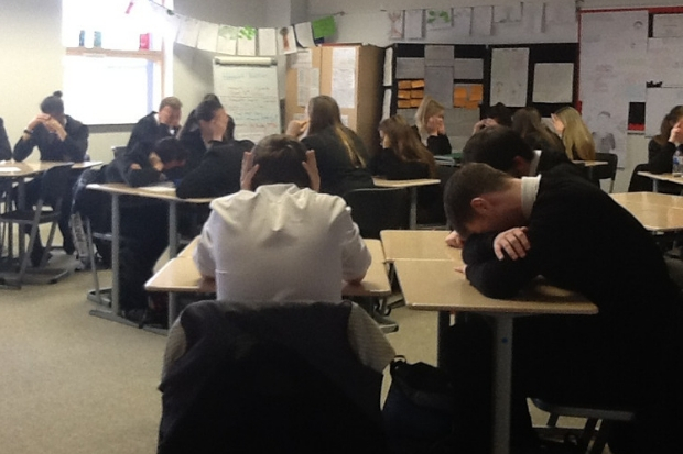 Pupils in Mrs Richardson's Higher English class do their best to drown out the noise from school assembly