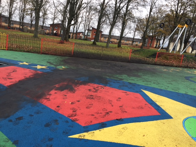 Extensive damage was caused to the new play area at Cowan Park