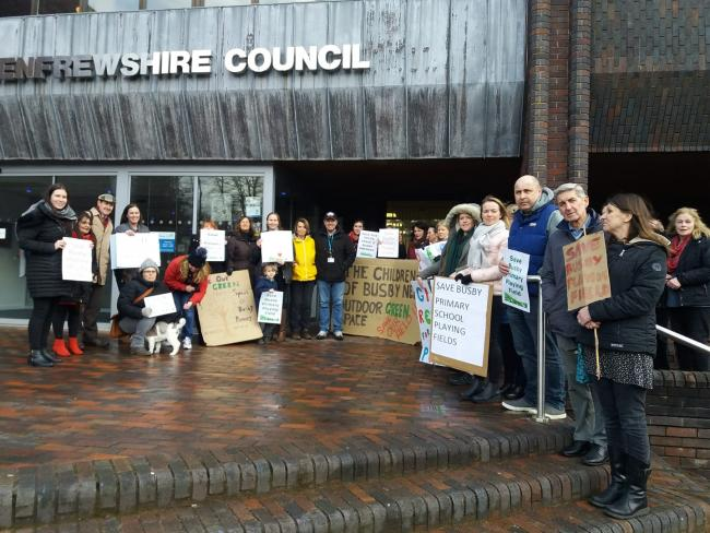 Protesters outside East Renfrewshire council buildings