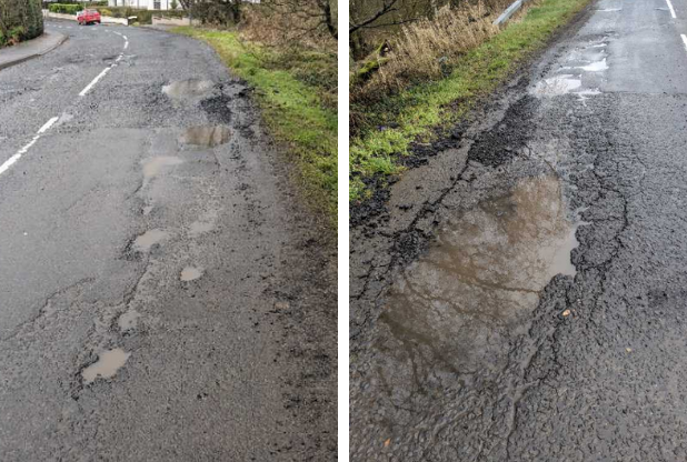 Demand for action over potholes and 'sinking' roads