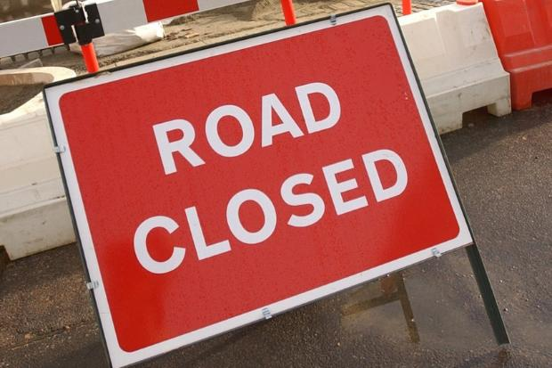 Road closed for water works