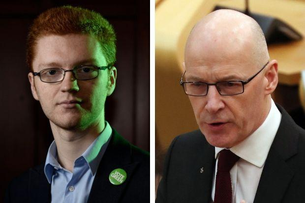 Ross Greer (left) wants to see John Swinney announce a scrap of the tests